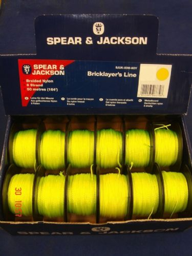 Spear & Jackson Green Braided Nylon Bricklayers Line 12 x 50 Metre Spools